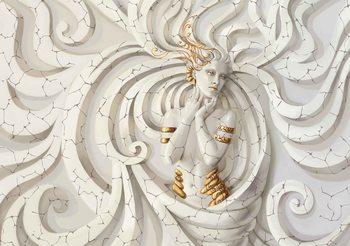 Fototapeta Sculpture Yoga Woman Swirls Medussa