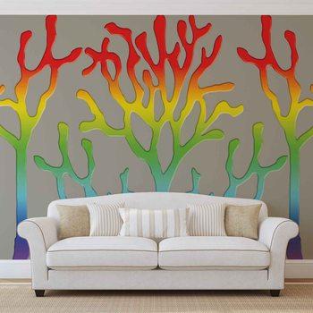Tęczowe drzewa abstrakcja Fototapeta