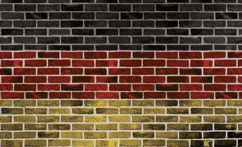 Fototapeta Tehlová stena - Nemecká vlajka