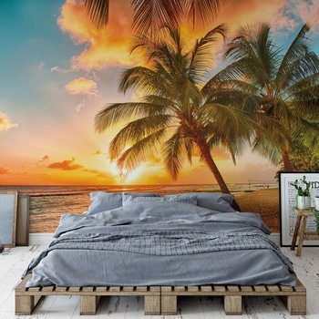 Tropical Beach Sunset Palm Trees Fototapeta