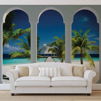 Tropikalna plaża widok przez kolumny Fototapeta
