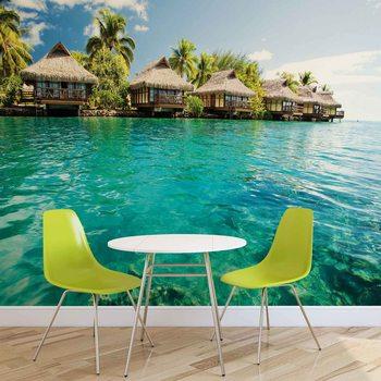 Tropikalna wyspa z domkami na plaży Fototapeta