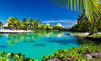 Tropikalna wyspa z palmami Fototapeta