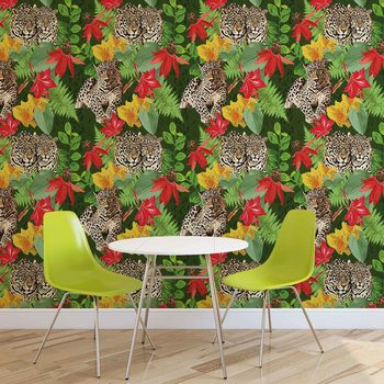 Tropikalny motyw z gepardami Fototapeta
