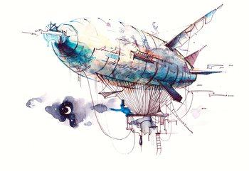 Fototapeta Watercolour Airship