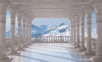 Widok na góry przez kolumnadę Fototapeta