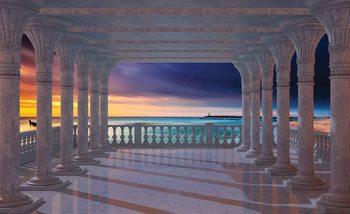Widok na morze przez kolumnade Fototapeta