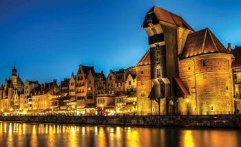 Widok na nocny Gdańsk Fototapeta