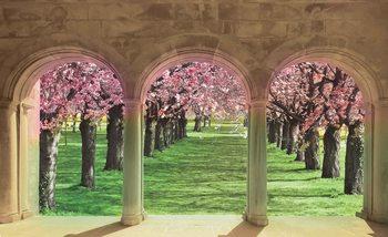 Widok przez arkady na kwitnące drzewa Fototapeta