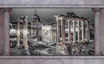 Widok przez kolumny na rzymskie ruiny Fototapeta