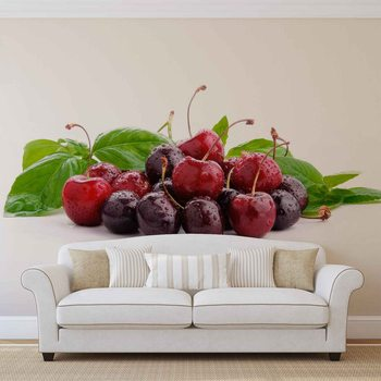 Wiśnie z listkami Fototapeta