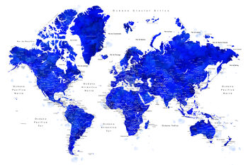 Fototapeta World map with labels in Spanish, cobalt blue watercolor