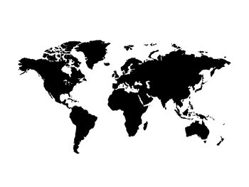 Worldmap black white background Fototapeta