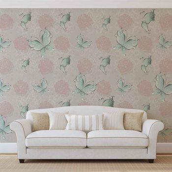 Wzór motyle i róże Fototapeta