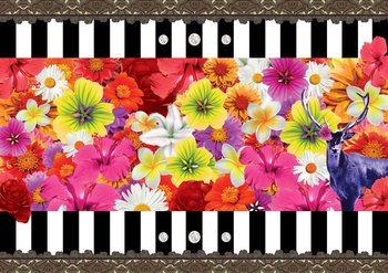 Wzór z kwiatami i paskami Fototapeta