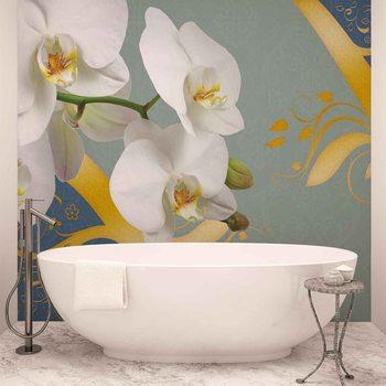 Wzór z orchideami Fototapeta