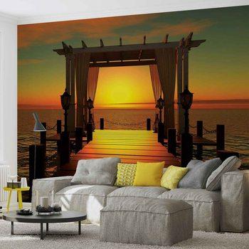 Zachód słońca na rajskiej plaży Fototapeta