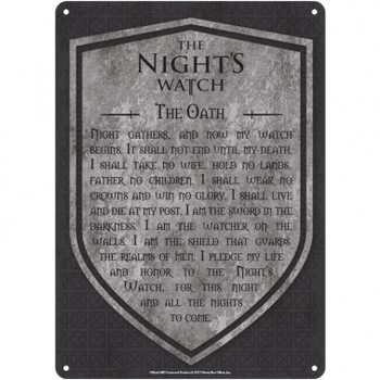 Game Of Thrones - Nights Watch Plaque métal décorée