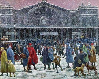 Gare de l'Est Under Snow, 1917 Festmény reprodukció