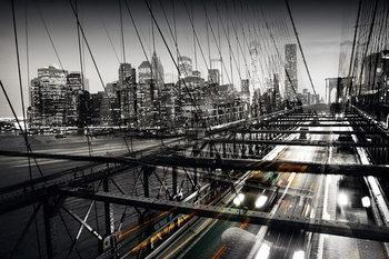 Glasbilder Black and White Bridge