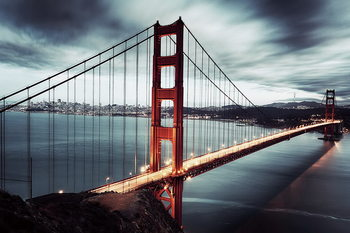 Glasbilder Golden Gate - Dark, San Francisco