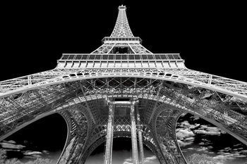 Glasbilder Paris - Eiffel Tower b&w study