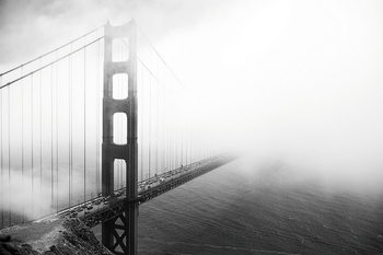 Glasbilder San Francisco - Golden Gate in Mist
