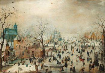 Glasbilder Winter Landscape With Skaters, Hendrick Avercamp