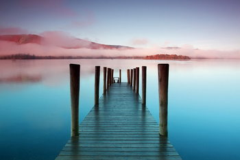 Glasbilder Wooden Landing Jetty - Colored Bay