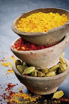 Glasbilder Zen - Bowls with Spices Standing