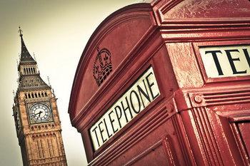 Принт стъкло London - Big Ben and Red Telephone Box