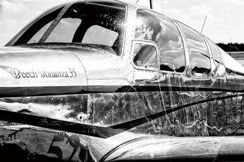 Plane - Black and White Glassbilder