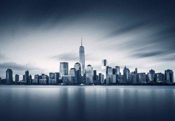 Glasschilderij Blue Manhattan