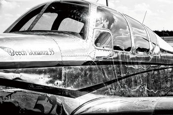 Glasschilderij Plane - Black and White