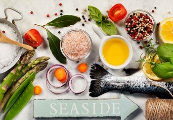 Glasschilderij Salmon Dinner