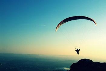 Glasschilderij Skydiving - Adrenalin