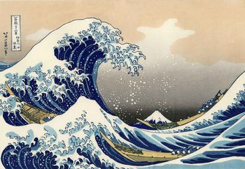 Glasschilderij The Great Wave Off Kanagawa, Hokusai