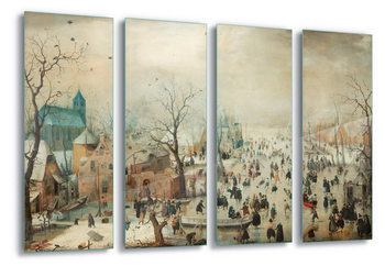 Glasschilderij Winter Landscape With Skaters, Hendrick Avercamp