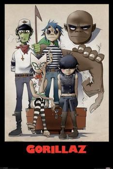Gorillaz - all here - плакат (poster)