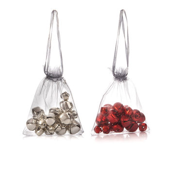 Bells in Bag, 20 pcs, Various Sizes, set of 2 pcs Heimdekoration