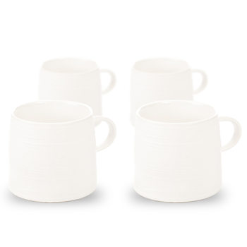 Mug Grainy Texture, 350 ml Matte White, set of 4 pcs Heimdekoration