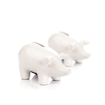 Piggybank Pig – Small, White, set of 2 pcs Heimdekoration