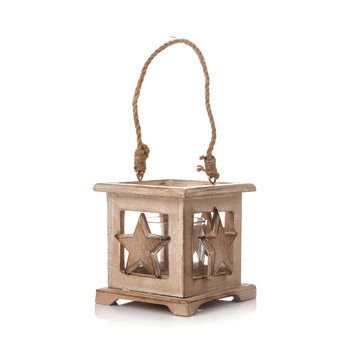 Wooden Lantern with Star Faded Paint, 9 cm Heimdekoration