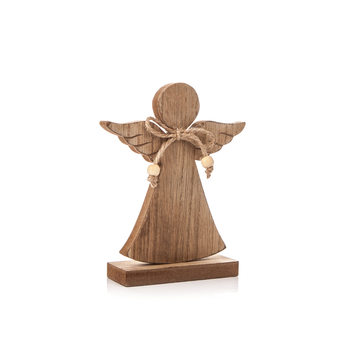 Angel Wooden with Bow, 16 cm Heminredning