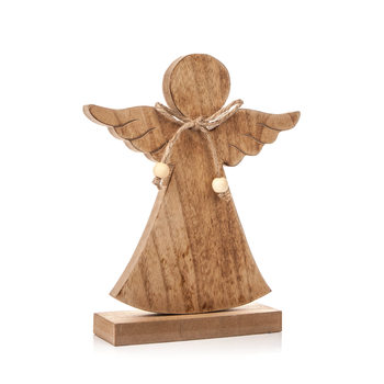 Angel Wooden with Bow, 21 cm Heminredning