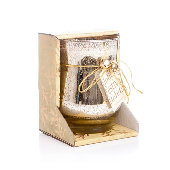 Candle in Glass - Cinnamon, Gold 10x13cm Heminredning