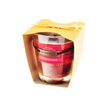 Candle in Glass-Cinnamon, Red, 10cm Heminredning