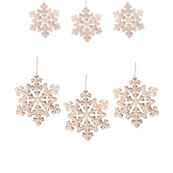 Hanging Wooden Snowflake, 8 cm, set of 6 pcs Heminredning