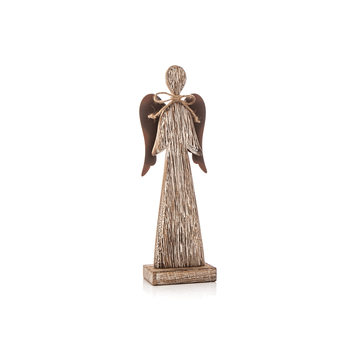 Wooden Tall Angel with Bow Faded Paint, 23 cm Heminredning