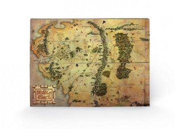 Målning på trä Hobbit - karta över Midgård